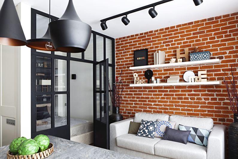Дизайн маленькой гостиной в стиле лофт