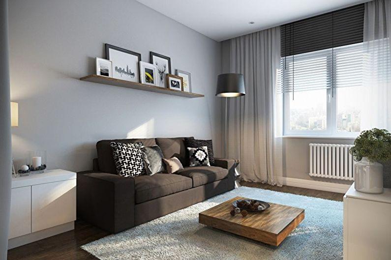 Маленькая гостиная в серых тонах - дизайн интерьера