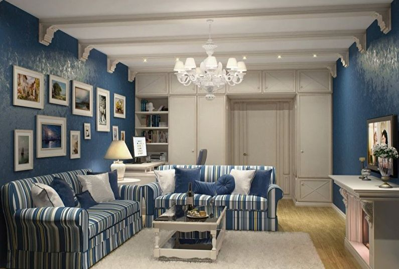 Маленькая гостиная в синих тонах - дизайн интерьера