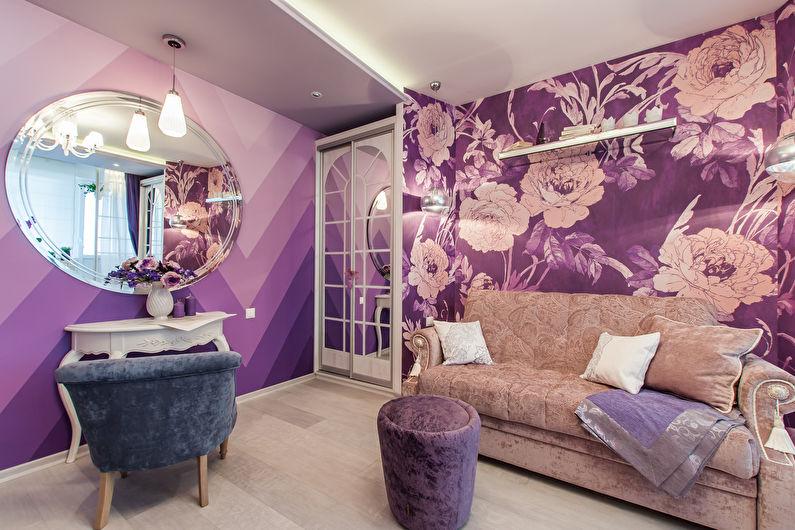 Маленькая гостиная в сиреневом цвете - дизайн интерьера
