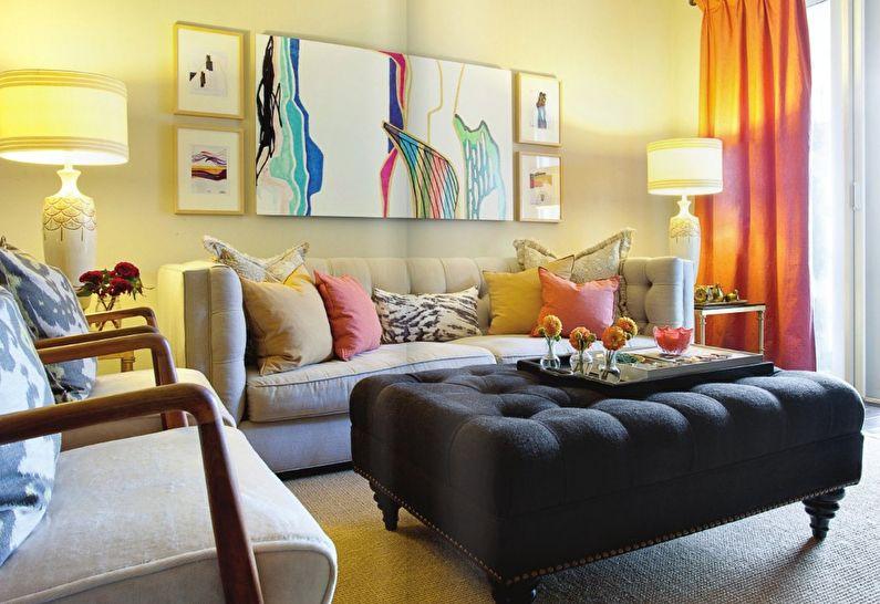 Дизайн маленькой гостиной - Декор и текстиль