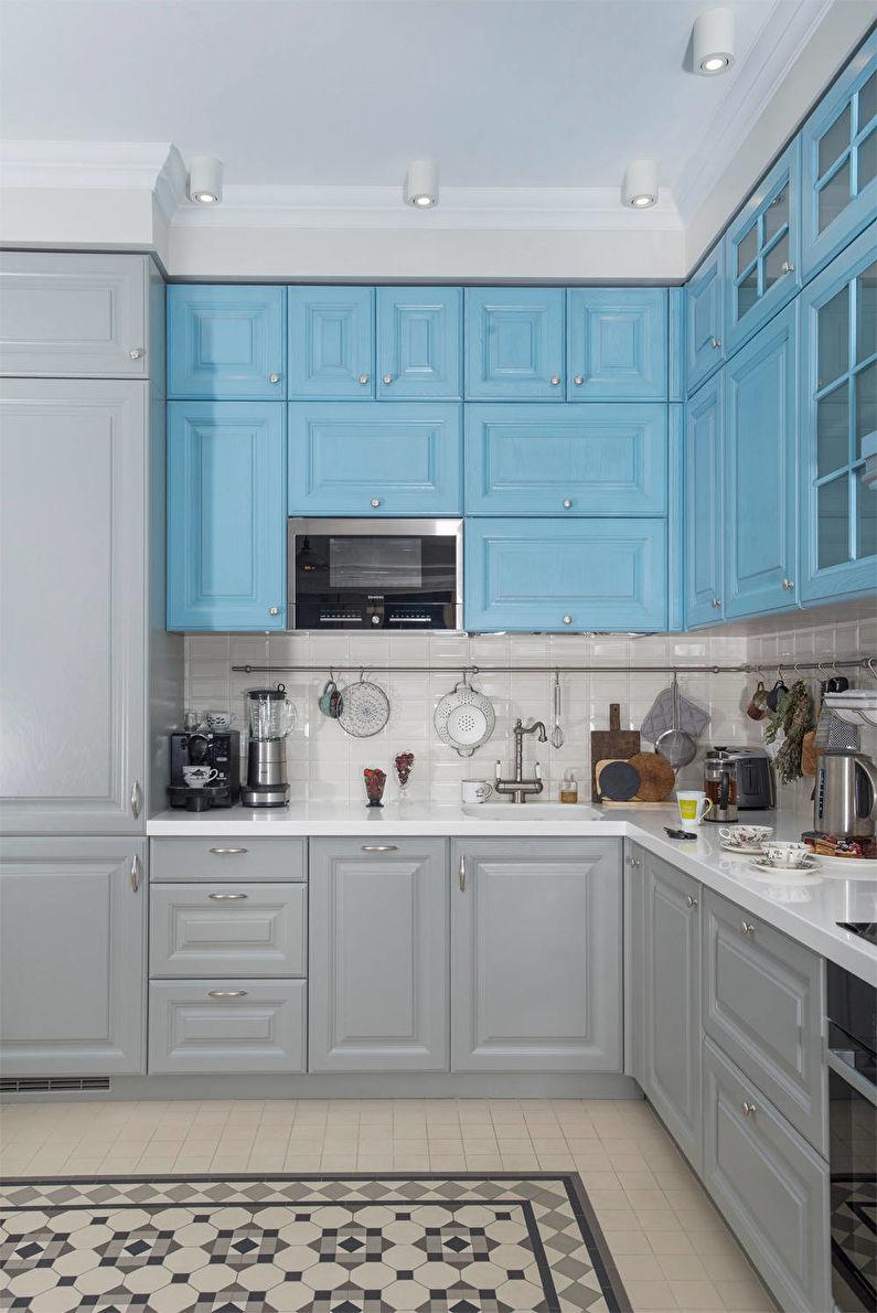 Серый цвет в интерьере - сочетание с синим цветом