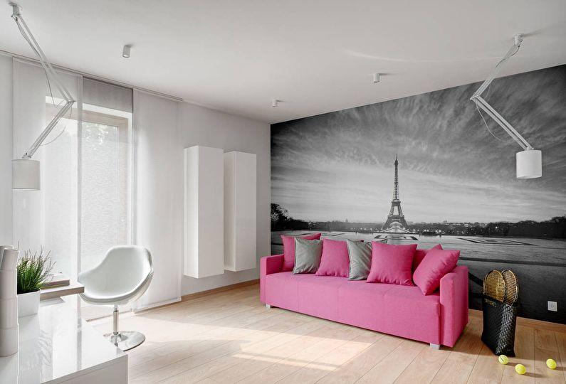 Серый цвет в интерьере - сочетание с розовым цветом