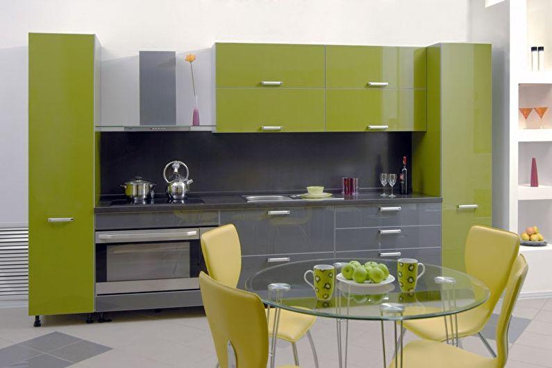 Серый цвет в интерьере - сочетание с зеленым цветом