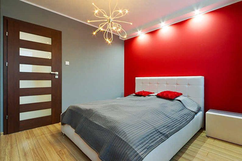 Серый цвет в интерьере - сочетание с красным цветом