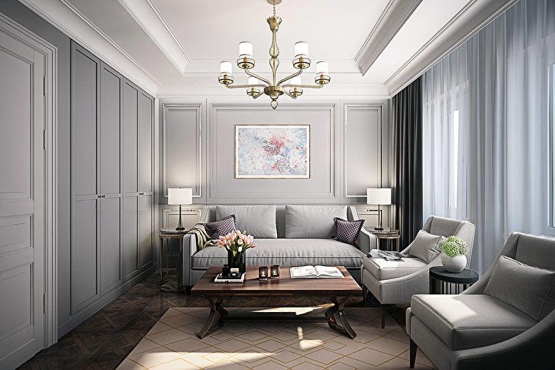 Серый цвет в интерьере - классический стиль