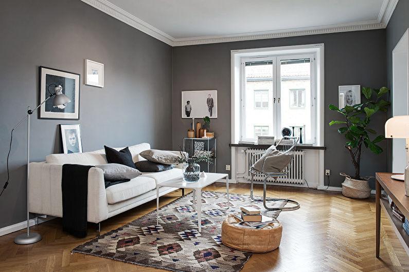 Серый цвет в интерьере - скандинавский стиль