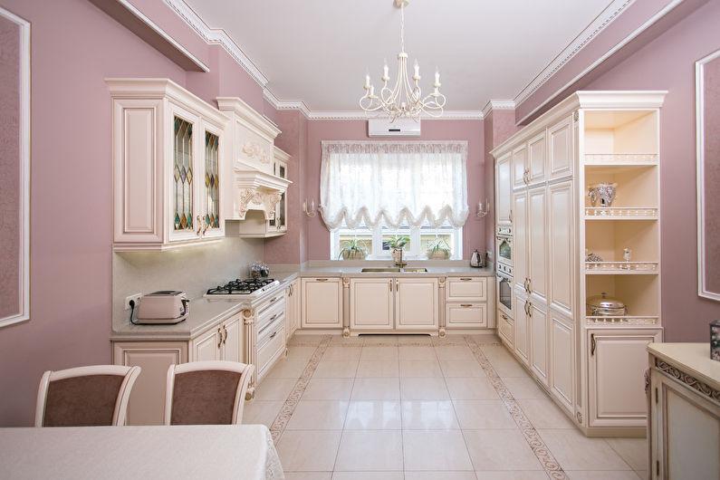 Дизайн кухни в классическом стиле - пастельные тона