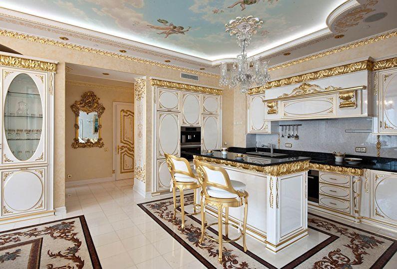 Кухня золотого цвета в классическом стиле - дизайн интерьера