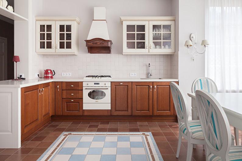 Дизайн кухни в классическом стиле - отделка пола