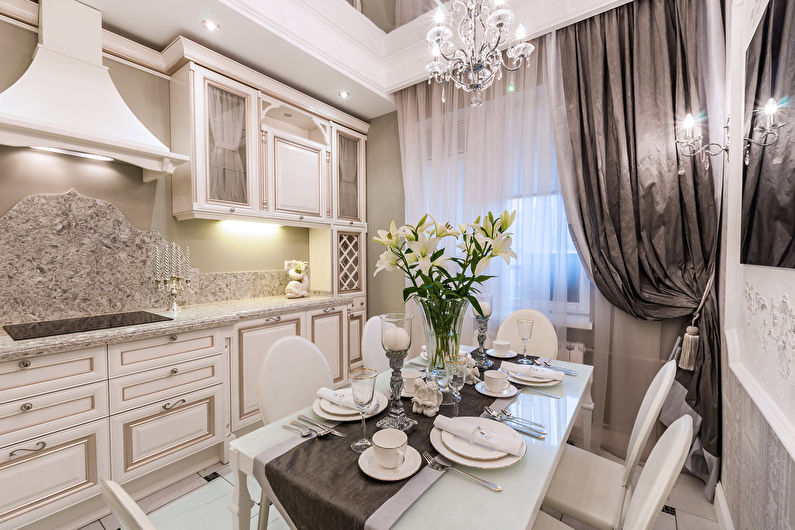 Дизайн кухни в классическом стиле - текстиль
