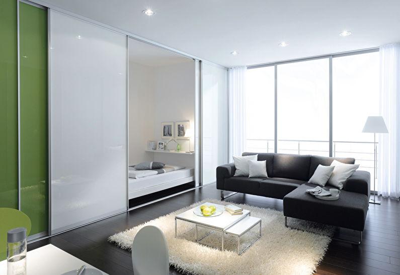 Раздвижные стеклянные перегородки в квартире