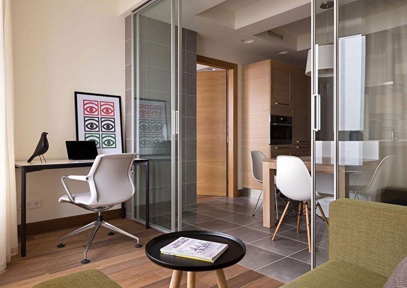 Прозрачные перегородки из стекла в квартире