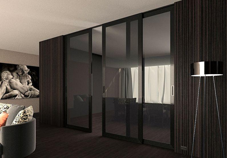 Тонированные стеклянные перегородки в квартире