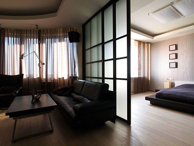 Матовые стеклянные перегородки в квартире