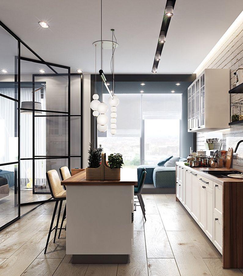 Стеклянные перегородки в интерьере кухни / столовой