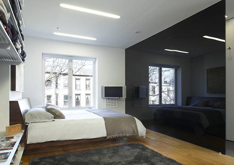 Стеклянные перегородки в интерьере спальни