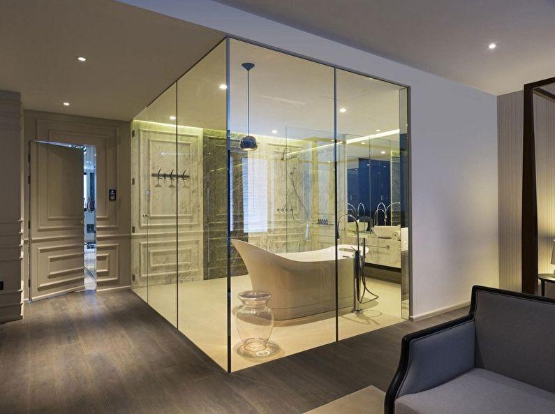 Стеклянные перегородки в интерьере ванной комнаты