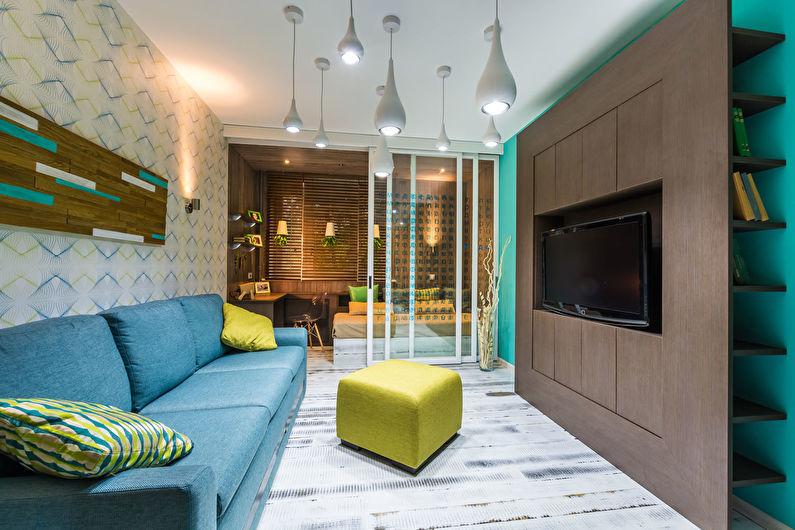 Стеклянные перегородки в интерьере гостиной