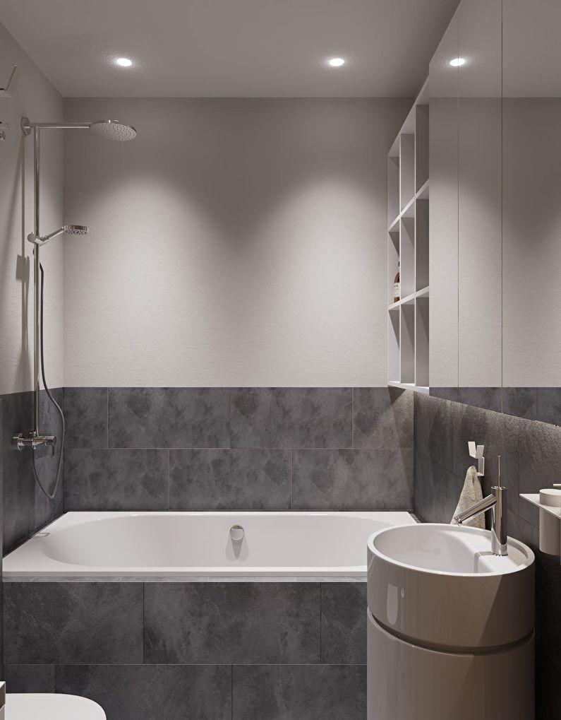 Дизайн ванной комнаты в хрущевке - стиль минимализм