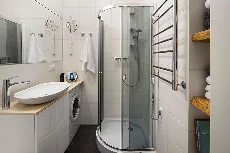 Дизайн белой ванной комнаты в хрущевке