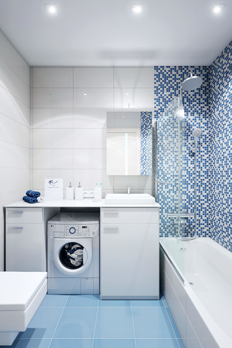Дизайн синей ванной комнаты в хрущевке
