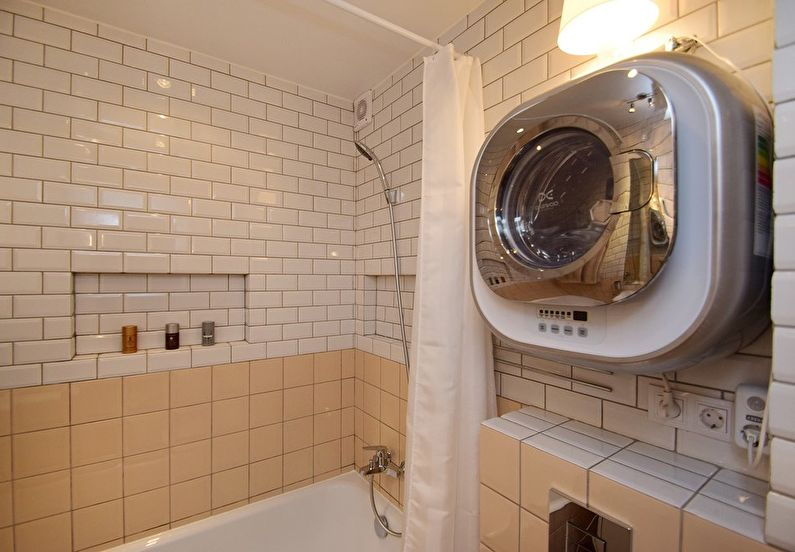 Дизайн ванной комнаты в хрущевке - стиральная машинка