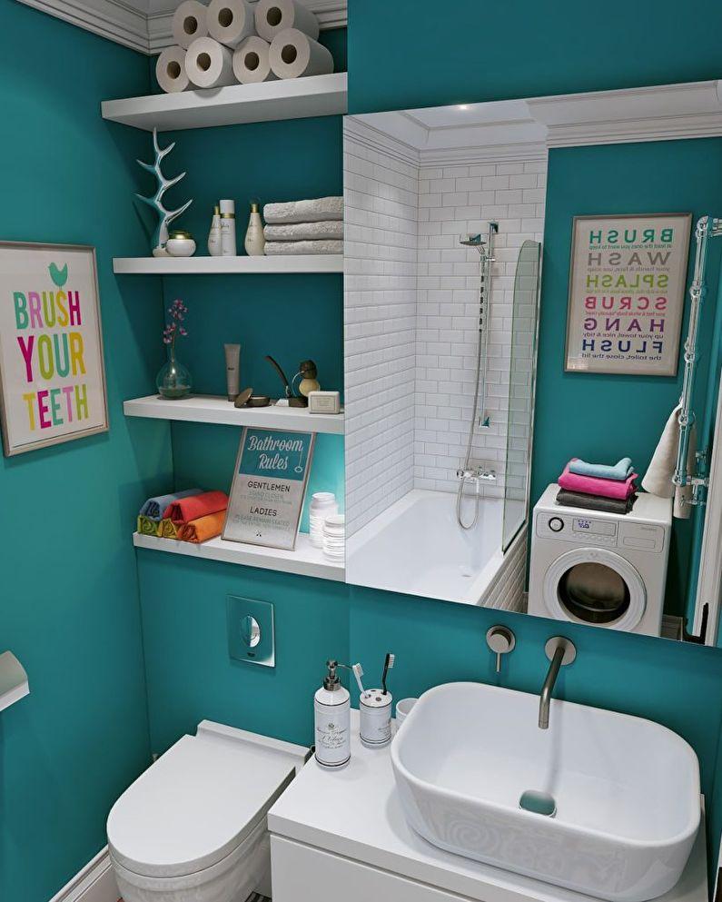 Дизайн ванной комнаты в хрущевке - шкафчики и полки