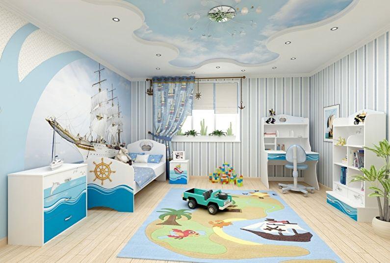 Двухуровневые натяжные потолки в детской комнате