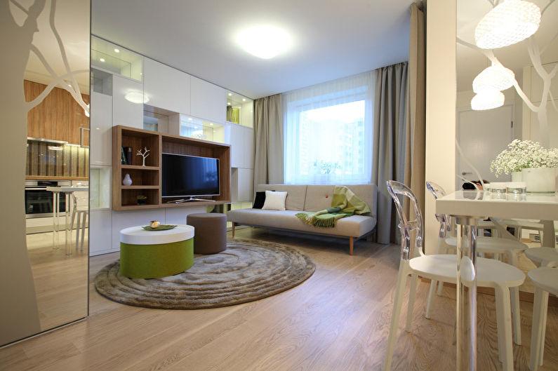 Интерьер 1 комнатной квартиры 34 кв.м. фото