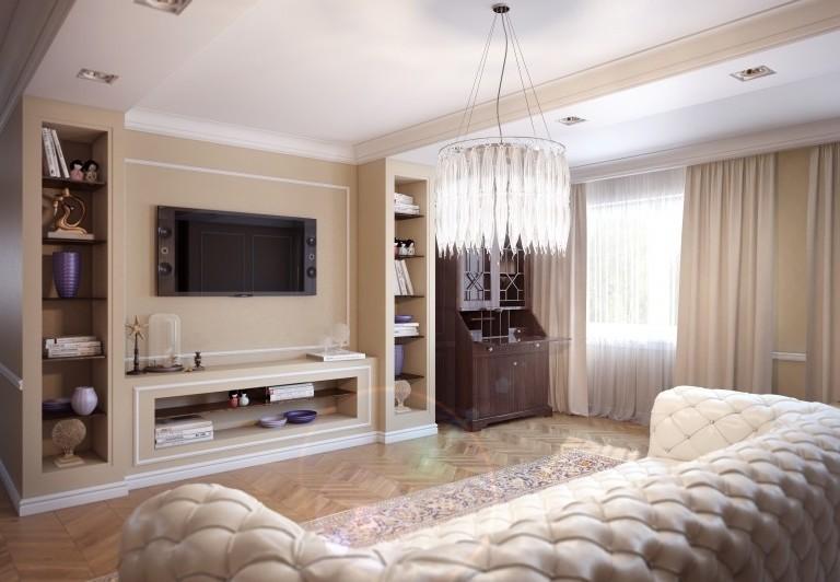 Стенка для гостиной из гипсокартона фото