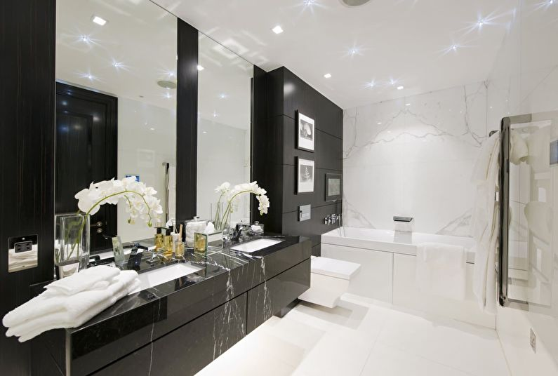 Сочетание цветов в интерьере ванной комнаты - белый с черным