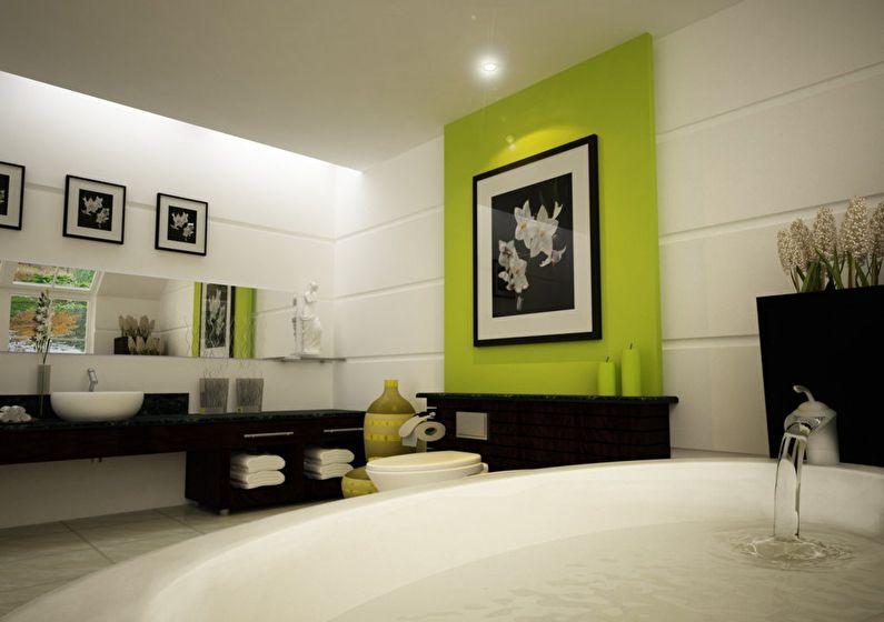 Сочетание цветов в интерьере ванной комнаты - белый с черным и зеленым