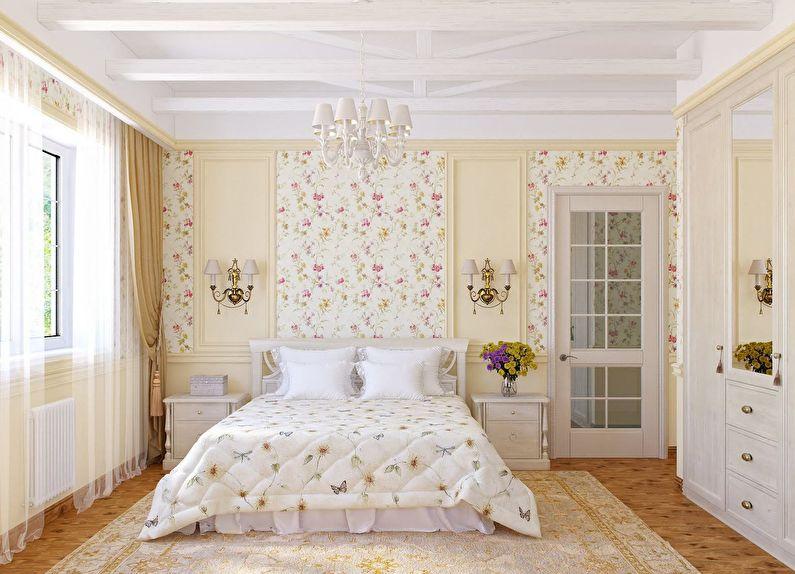 Сочетание цветов в интерьере спальни - белый с бежевым и розовым