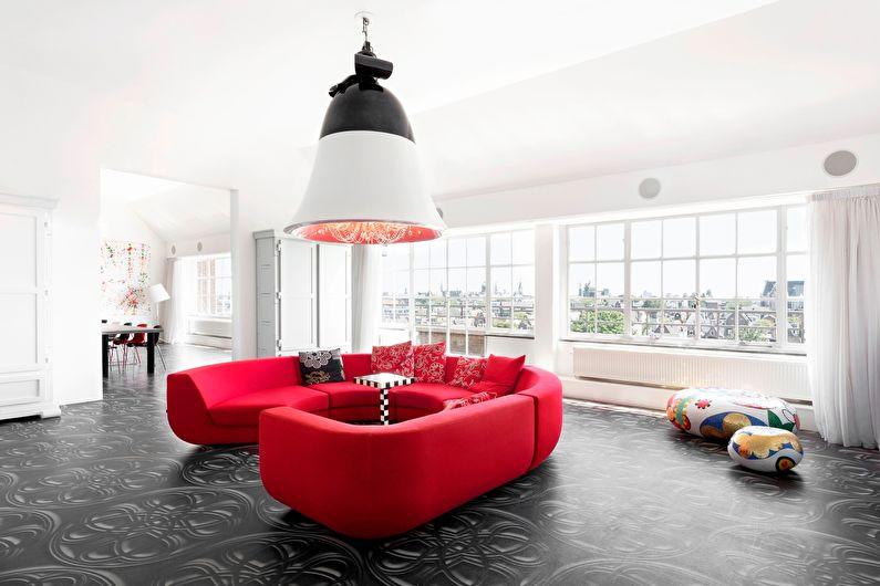 Сочетание цветов в интерьере гостиной - белый с черным и красным