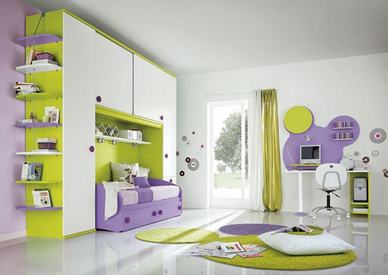 Сочетание цветов в интерьере детской комнаты - белый с зеленым и фиолетовым