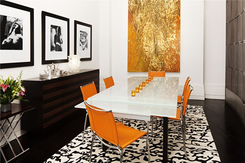 Сочетание цветов в интерьере - белый с оранжевым и коричневым
