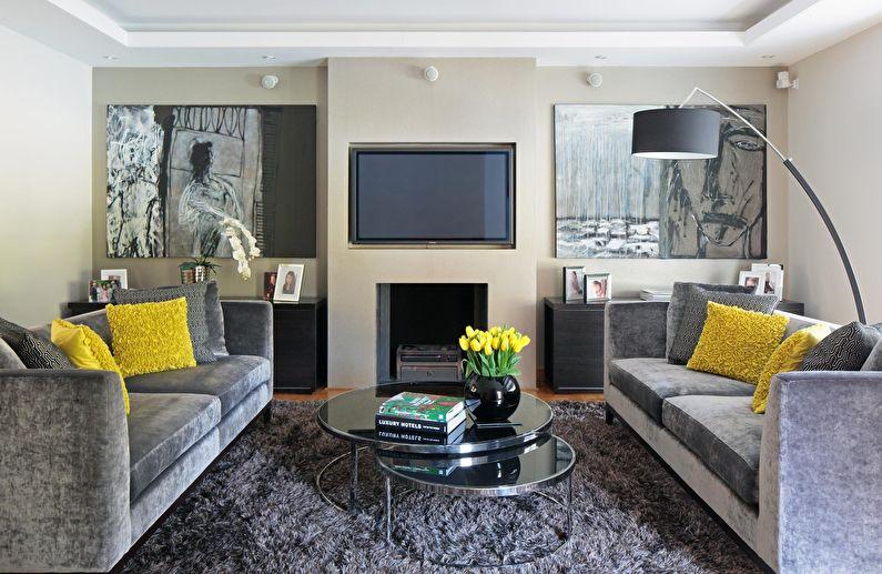 Сочетание цветов в интерьере гостиной - серый с бежевым и белым
