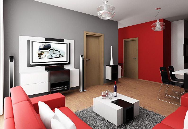 Сочетание цветов в интерьере гостиной - серый с красным