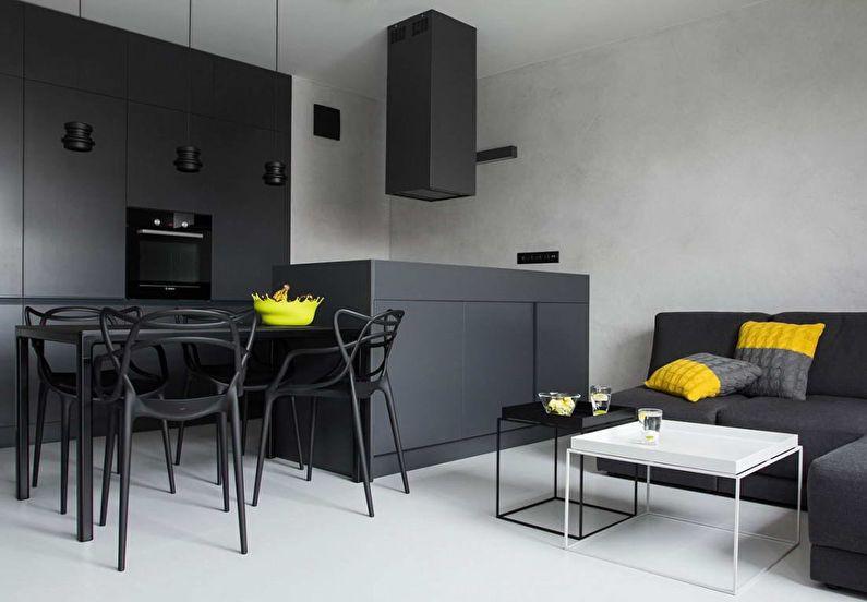 Сочетание цветов в интерьере кухни - серый с белым и желтым