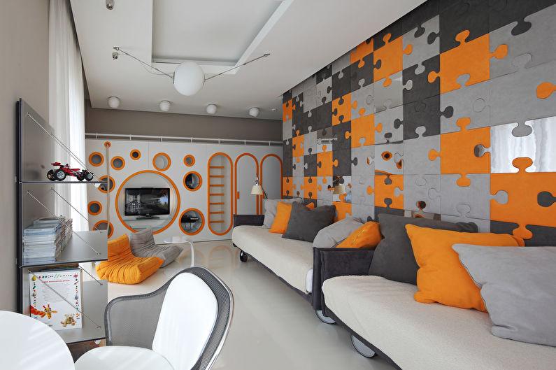 Сочетание цветов в интерьере детской комнаты - серый с оранжевым