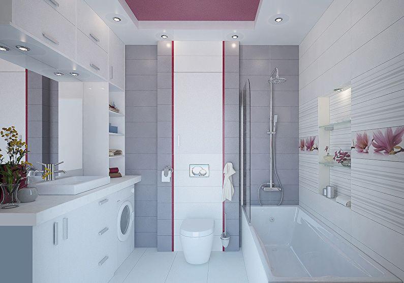 Сочетание цветов в интерьере ванной комнаты - серый с белым и розовым