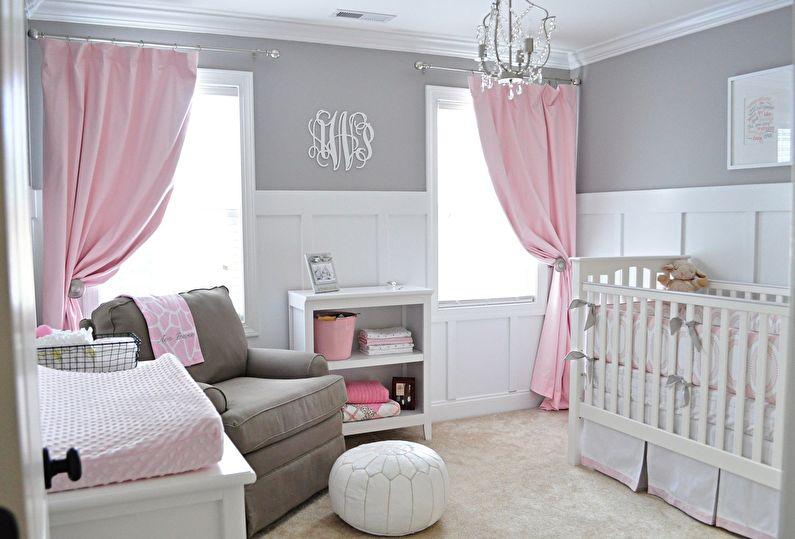 Сочетание цветов в интерьере детской комнаты - серый с розовым и белым