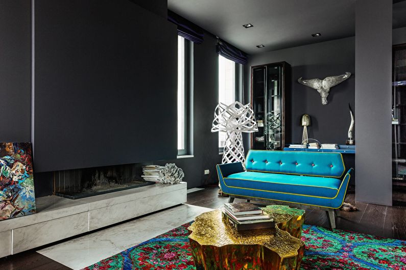 Сочетание цветов в интерьере гостиной - черный с бирюзовым