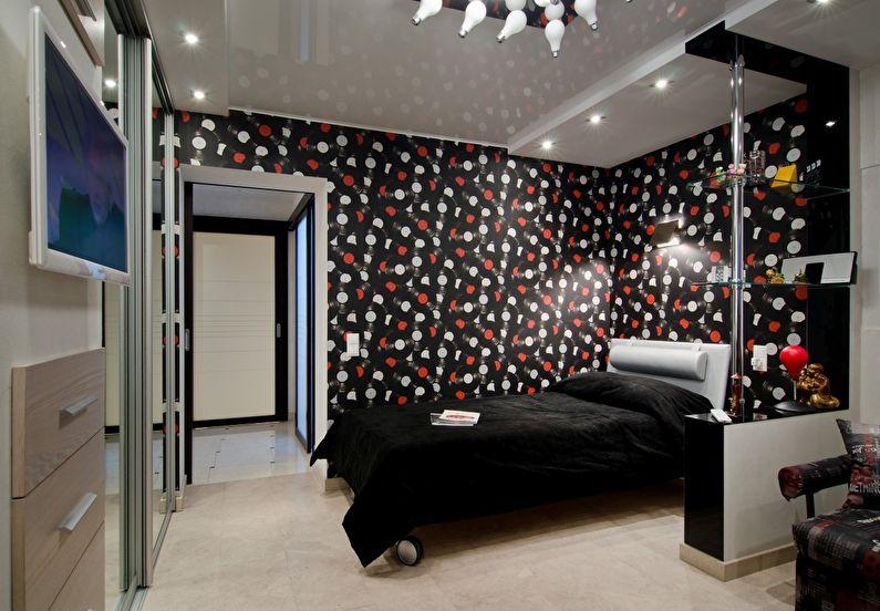 Сочетание цветов в интерьере спальни - черный с красным и белым