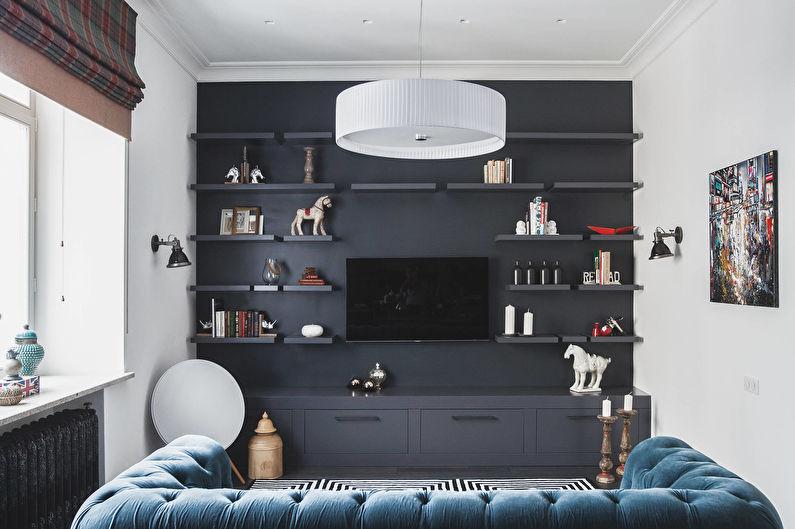 Сочетание цветов в интерьере гостиной - черный с синим и белым