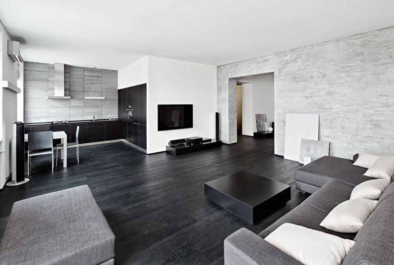 Сочетание цветов в интерьере гостиной - черный с белым