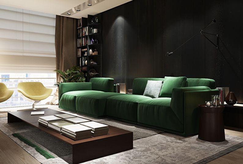 Сочетание цветов в интерьере гостиной - черный с зеленым и коричневым