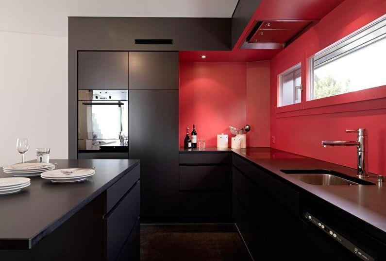 Сочетание цветов в интерьере кухни - черный с красным