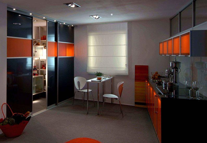 Сочетание цветов в интерьере кухни - черный с оранжевым